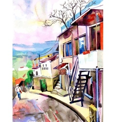 watercolor painting on paper of old street in vector image vector image