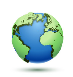3d of the globe earth isolated on white vector image vector image