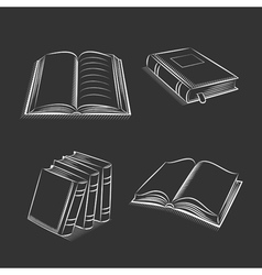 Book and notebook sketch set on black background vector image vector image