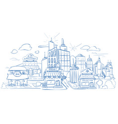 city landscape with modern buildings pencil sketch vector image