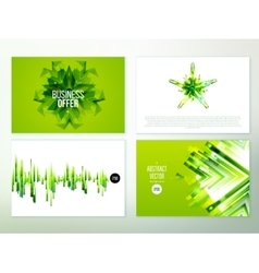 Green abstract banner design set vector