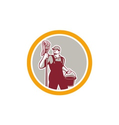 Janitor holding mop and bucket circle retro vector