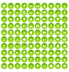 100 camping and nature icons set green circle vector