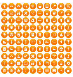 100 school years icons set orange vector image