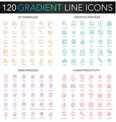120 trendy gradient style thin line icons set vector image