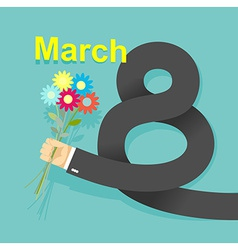 8 march Businessman hand holding bouquet of vector image