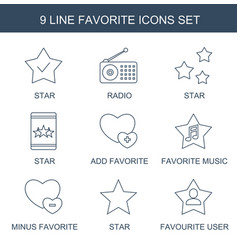 9 favorite icons vector