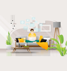 a man sitting on sofa with laptop in living room vector image