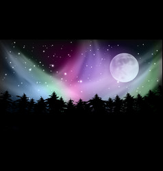 Abstract forest multicolored northern lights vector