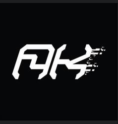 Ak logo monogram abstract speed technology design vector