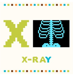 alphabet for children letter x and a x-ray vector image