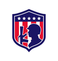 American soldier with flag crest vector