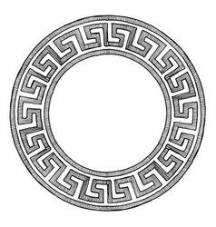 Ancient greek round ornament vector