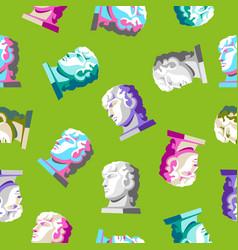 Antique greek head - green seamless pattern vector