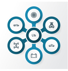 Automobile outline icons set collection wheel vector