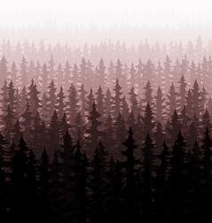 Background nature forest landscape pine fir trees vector image