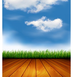 Background with wood and grass vector