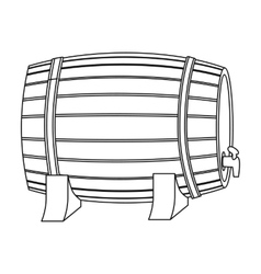 Barrel of wine icon in outline style isolated on vector