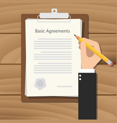 basic agreements business man signing a paper vector image