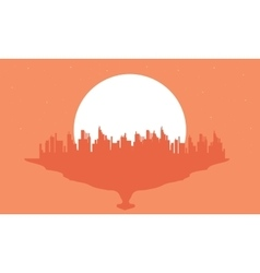 Beautiful silhouette city and big moon vector image