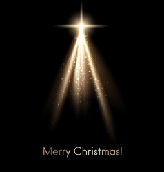 Black shiny merry christmas poster with golden vector