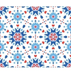 Blue Red Flowers and Hearts Pattern vector