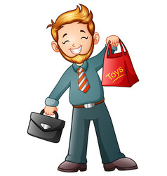 businessman holding shopping bag and briefcase vector image