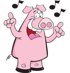 Cartoon pig with musical notes vector image