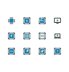 Computer microchip CPU duotone icons on white vector image