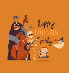 Crazy music party with band cartoon halloween vector