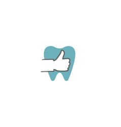 creative dental thumb tooth logo design symbol vector image