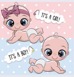 Cute babies boy and girl vector