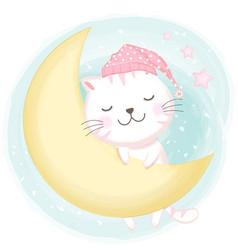 Cute cat asleep hand drawn cartoon vector