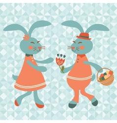 Cute rabbits couple vector