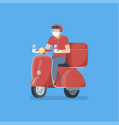 delivery man riding scooter with mask vector image