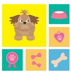dog shih tzu and stuff bow bone food vector image