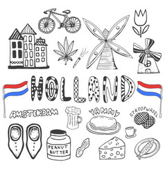 doodle hand drawn collection of holland icons vector image