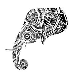 elephant tattoo ornamented with maori style vector image