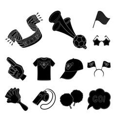 Fan and attributes black icons in set collection vector