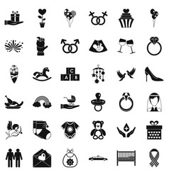 fell icons set simple style vector image