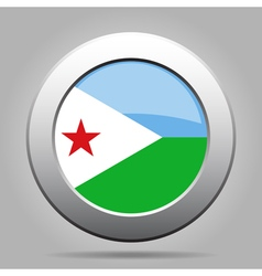 Flag of djibouti shiny metal gray round button vector