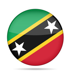flag of saint kitts and nevis shiny round button vector image