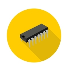 flat icon microchip vector image