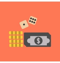 Flat icon on stylish background Money dice chips vector