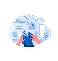 flat man or woman hand choosing t-shirt in vector image