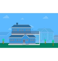 Flat of big house collection vector