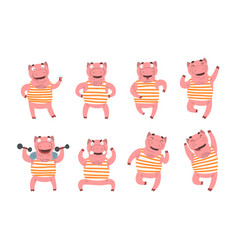 Flat set pink humanized pig in different vector