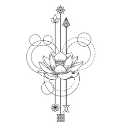Floral geometric tattoo vector