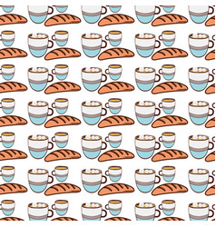fresh bread with cup of coffee background icon vector image