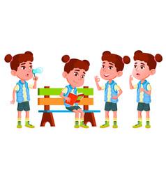 Girl kindergarten kid poses set little vector